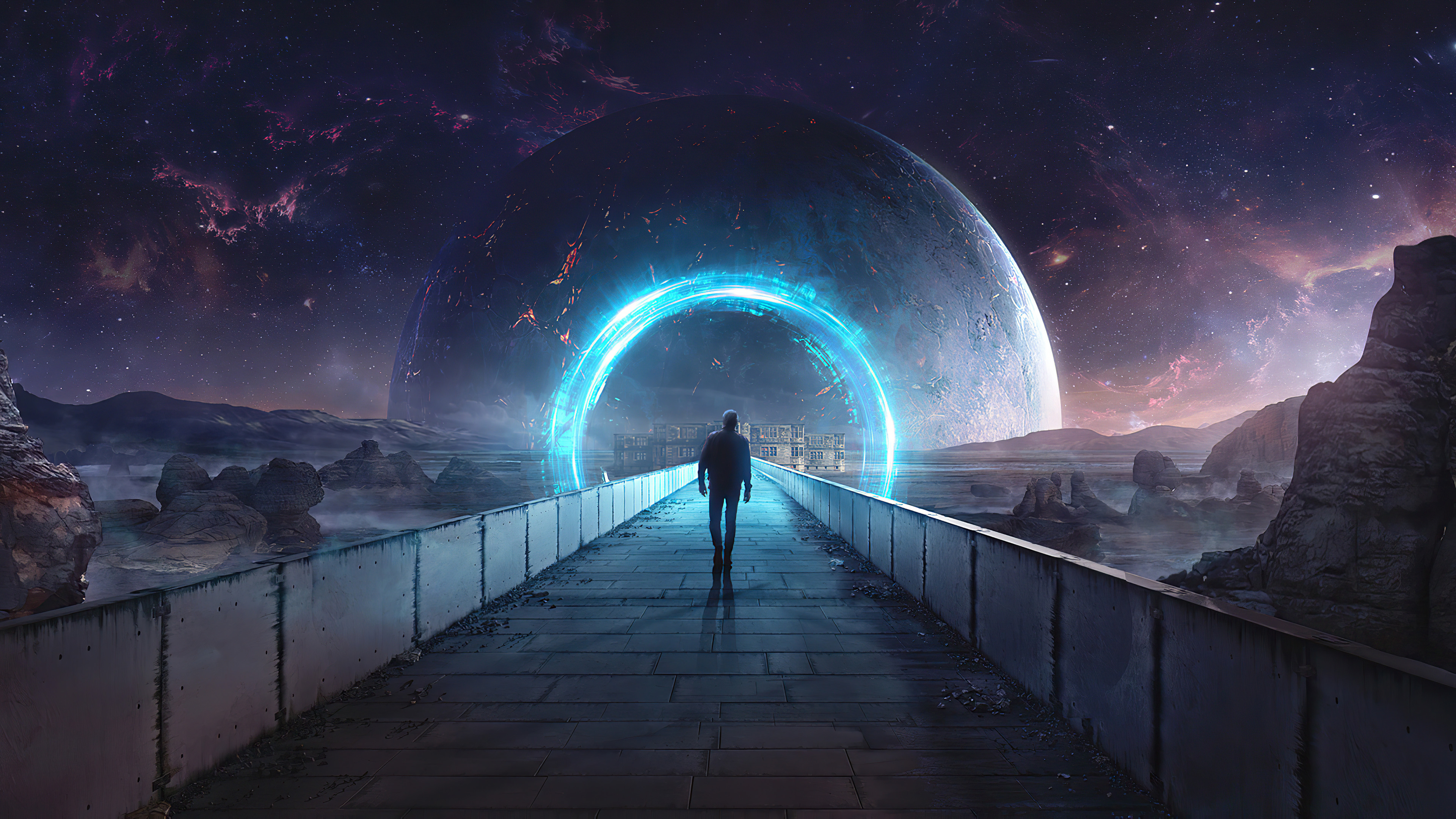 Man Walking Towards Space Portal 4k Ultra Hd Wallpaper Background Image 3840x2160 Id 1077714 Wallpaper Abyss