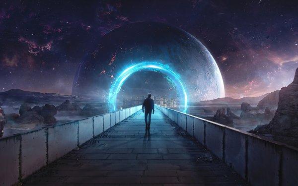 Sci Fi Portal Man Mountain Night Sky Planet HD Wallpaper | Background Image