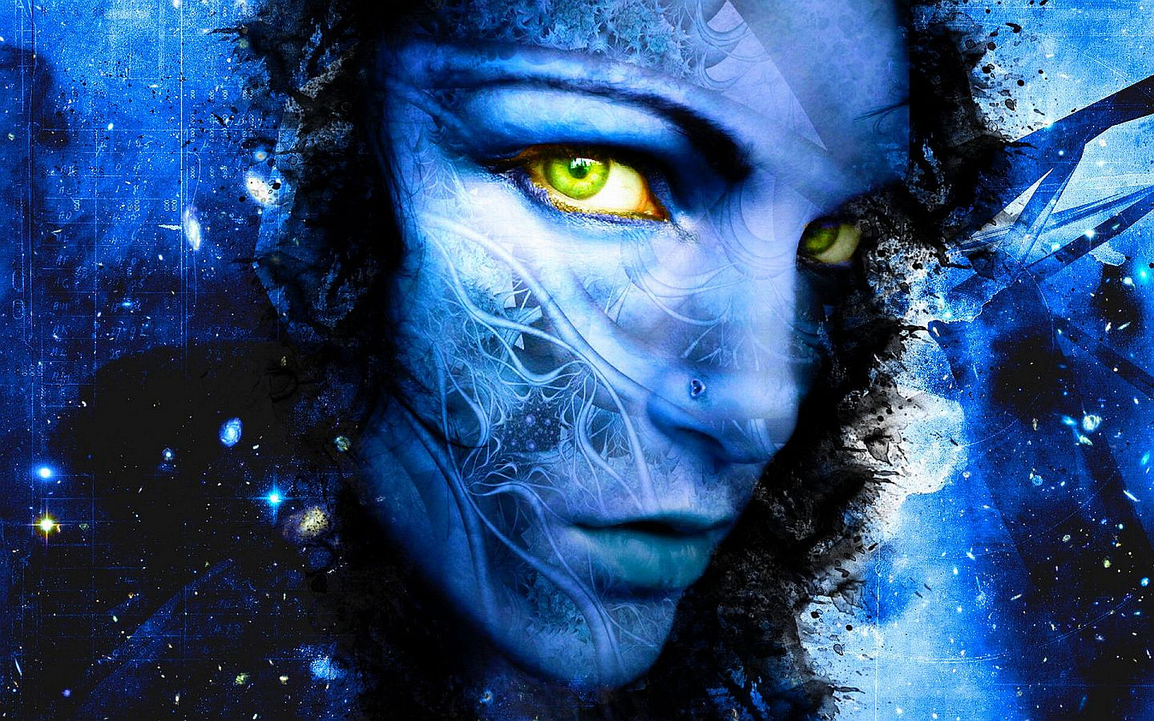Artistic - Women  Heart Blue Eye Green Artistic Wallpaper