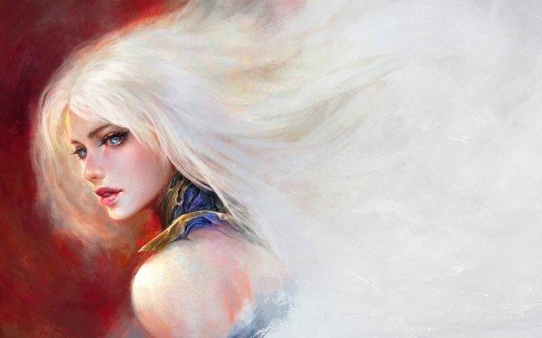 Fantasy Women Woman Model Girl White Hair Blue Eyes HD Wallpaper | Background Image
