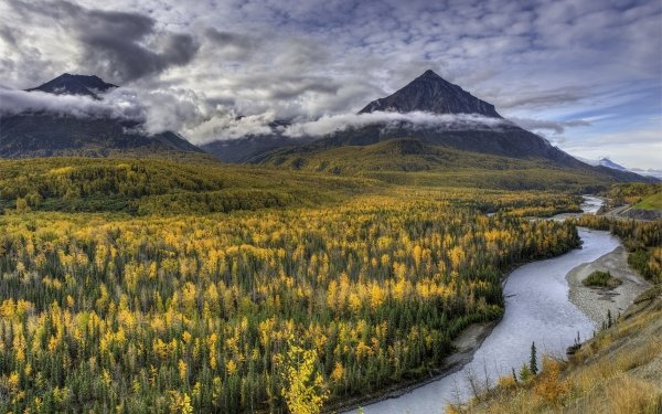 Earth Landscape Alaska United States Nature River Forest Mountain HD Wallpaper | Background Image