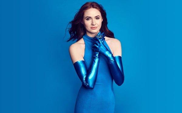 Celebrity Karen Gillan Actresses United Kingdom Actress Blue Dress Redhead Scottish HD Wallpaper   Background Image