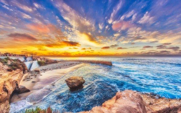 Photography Ocean Beach Sunset Rock Coast Horizon California San Diego Pacific Ocean HD Wallpaper | Background Image