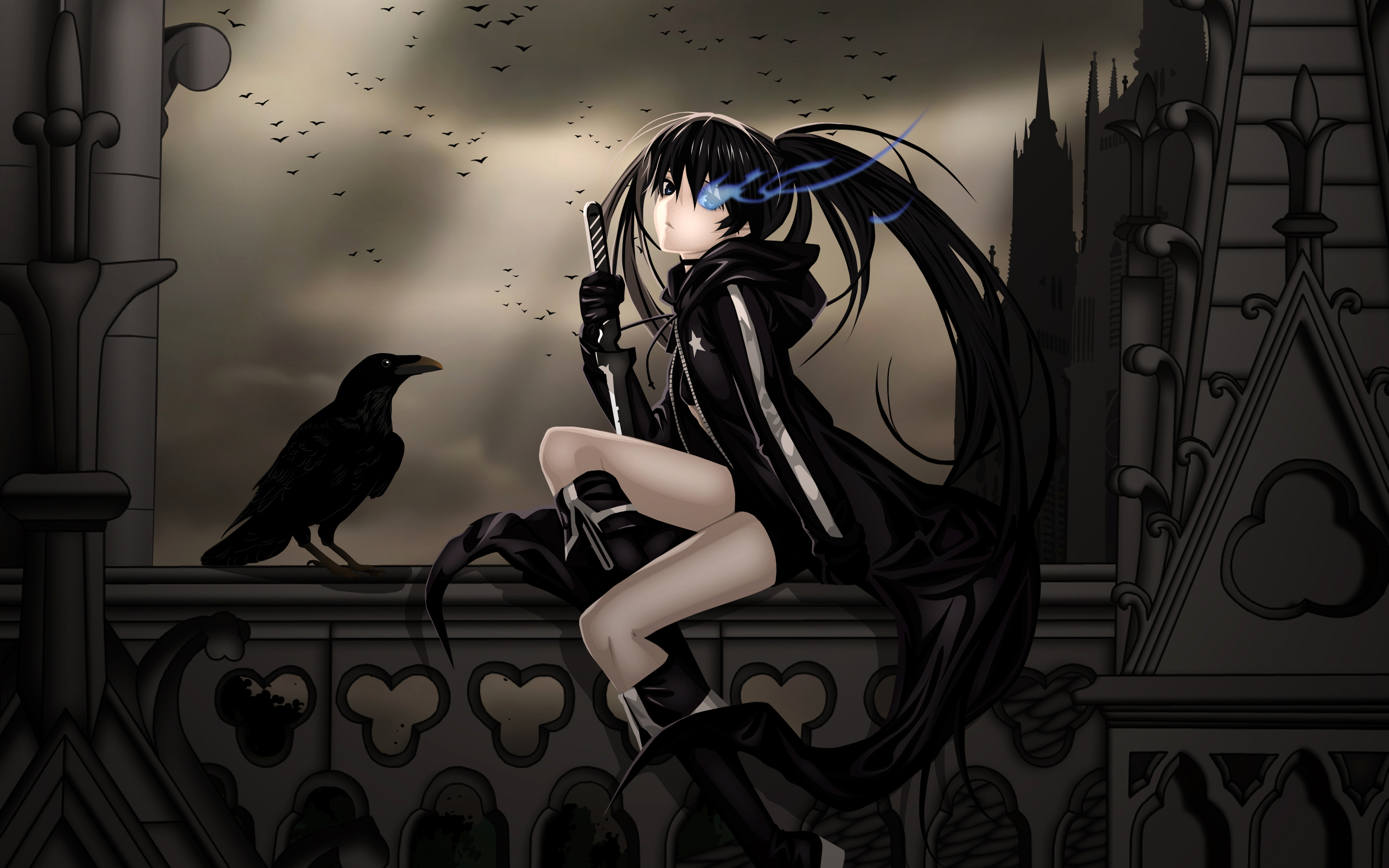 Anime - Black Rock Shooter  - Fun - Crazy - Bleu   - Oeil Fond d'écran