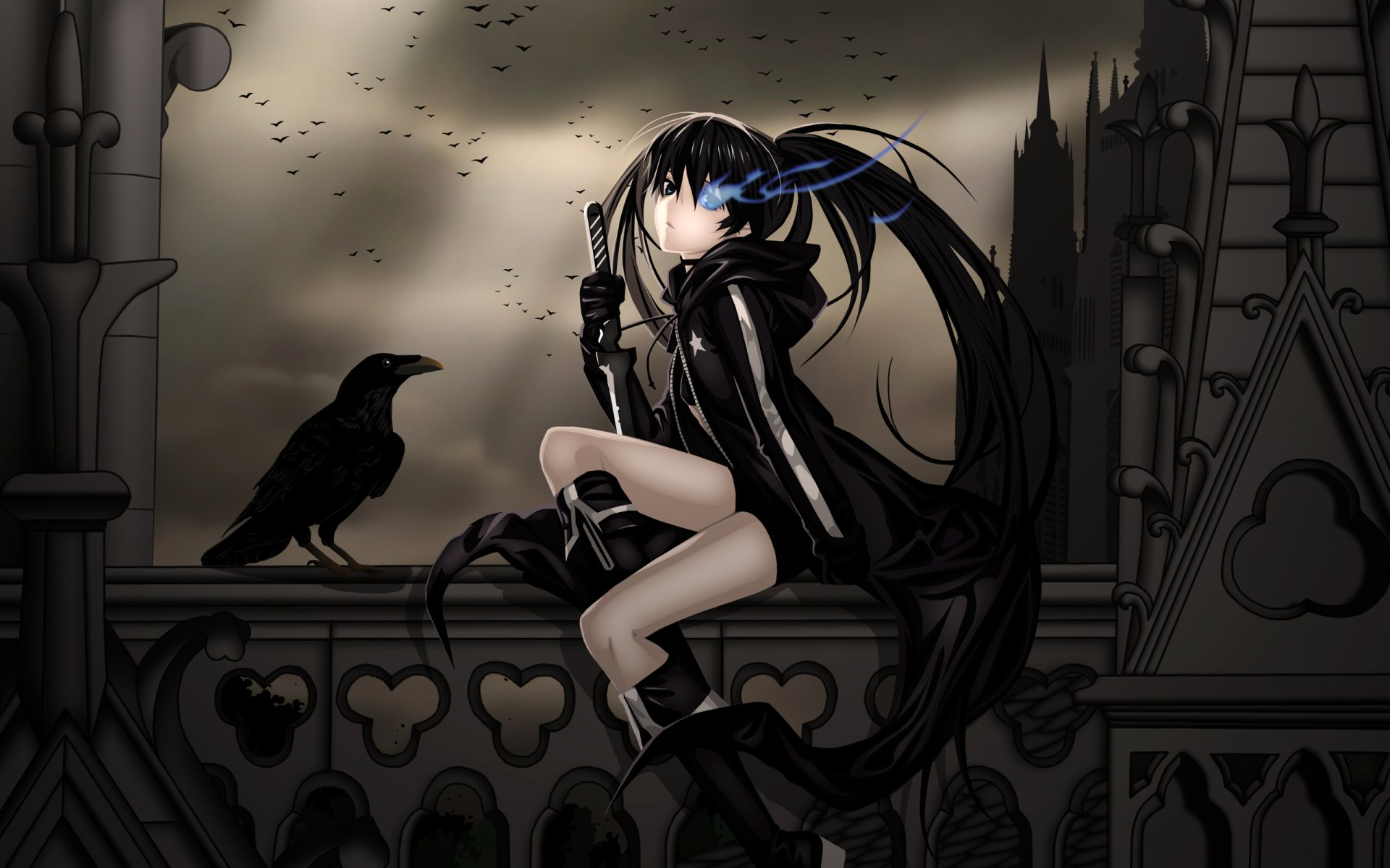 Anime - Black Rock Shooter  Fun Azul Ojo Raven Cuervo Ave Fondo de Pantalla