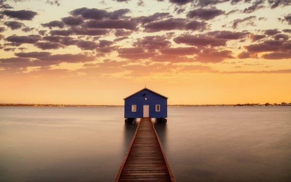 Man Made Boathouse Sky River Sunrise HD Wallpaper   Background Image