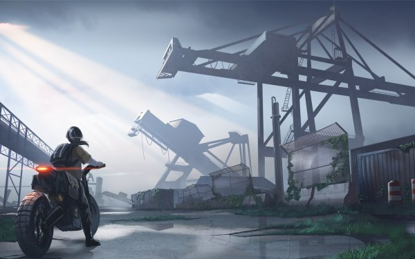Anime Original Post Apocalyptic Motorcycle HD Wallpaper   Background Image