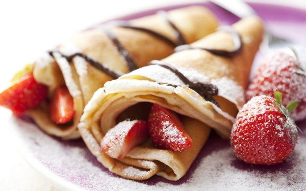 Food Crêpe Strawberry Breakfast HD Wallpaper   Background Image