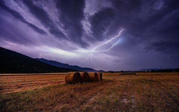 Earth Field Haystack Horizon Sky Lightning HD Wallpaper   Background Image