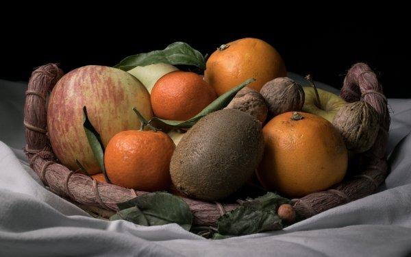 Food Still Life orange Apple Kiwi Mandarin Walnut HD Wallpaper | Background Image