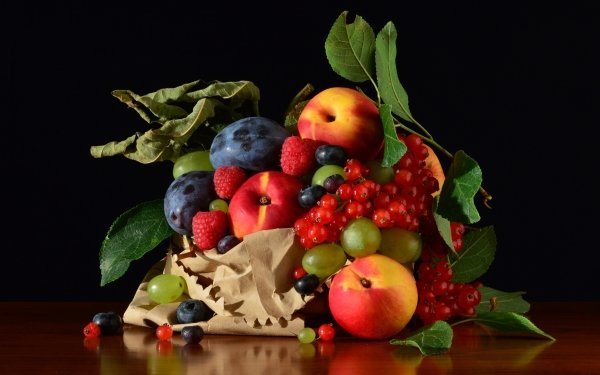 Food Still Life Currants Nectarine Grapes Raspberry Blueberry Plum HD Wallpaper   Background Image