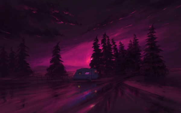 Artistic Night Sky Purple Van HD Wallpaper | Background Image