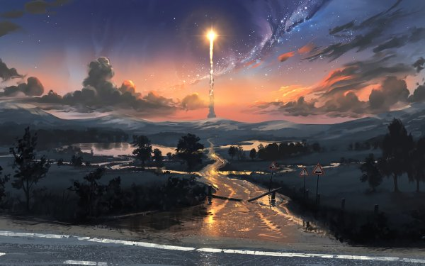 Artistic Landscape Sunset Rocket HD Wallpaper | Background Image