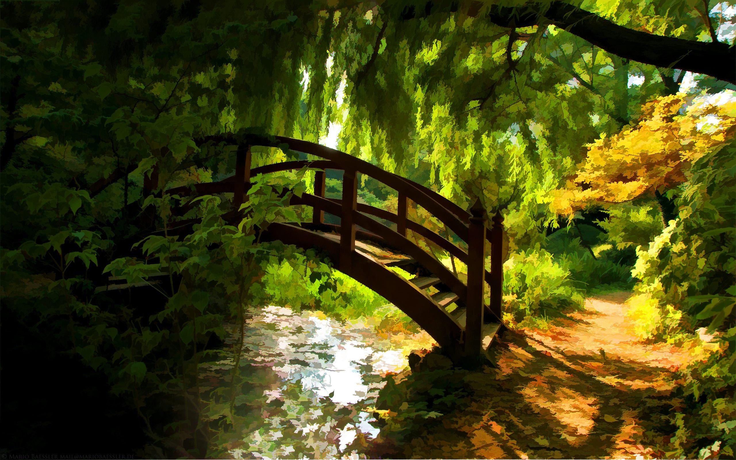 garden bridge in spring full hd wallpaper and background image