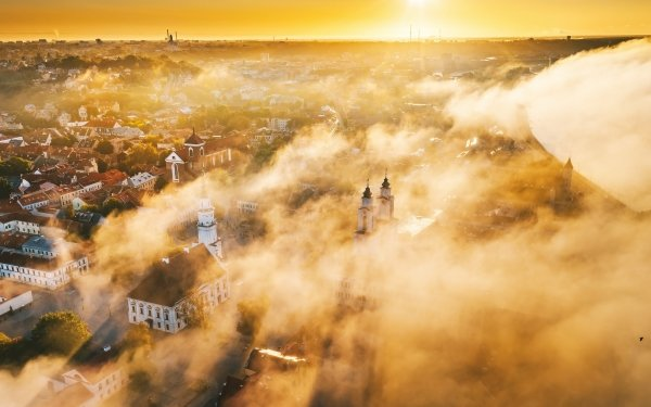 Man Made Kaunas Cities Lithuania Fog Sunset Horizon HD Wallpaper | Background Image