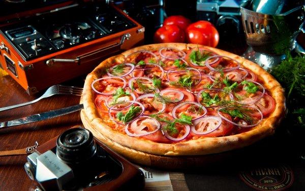 Food Pizza Tomato Onion HD Wallpaper | Background Image