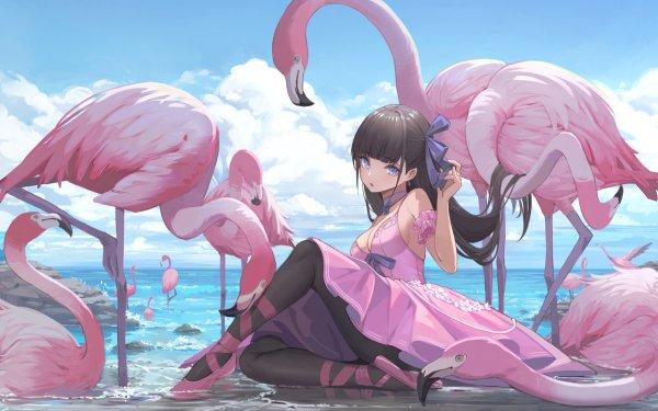 Anime Girl Flamingo HD Wallpaper | Background Image
