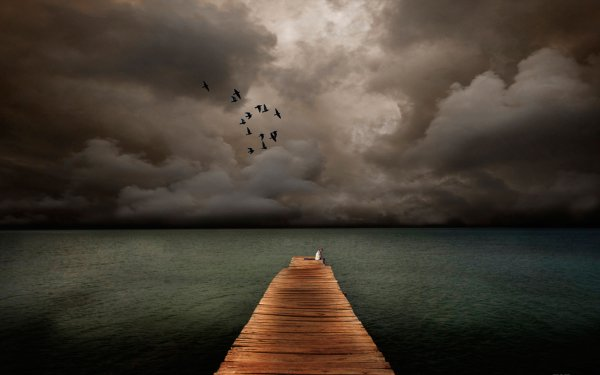 Photography Manipulation Pier Ocean Sea Alone HD Wallpaper | Background Image