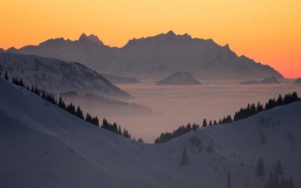 Earth Alps Mountain Mountains Snow Mountain Sunrise Dawn Germany Bavaria HD Wallpaper | Background Image