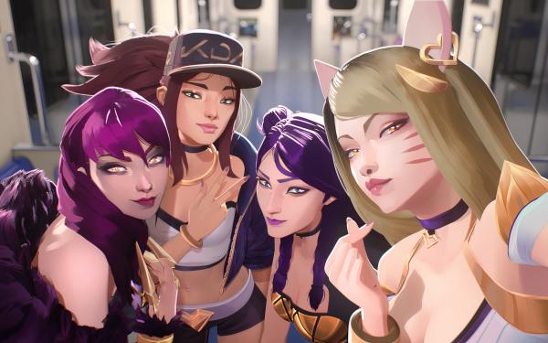 Video Game League Of Legends Evelynn Akali Kai'Sa Ahri Woman Girl K-Pop Selfie Blonde Cat Girl Purple Hair K/DA HD Wallpaper | Background Image