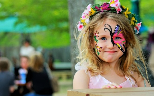 Photography Child Butterfly Girl Wreath Face HD Wallpaper | Background Image