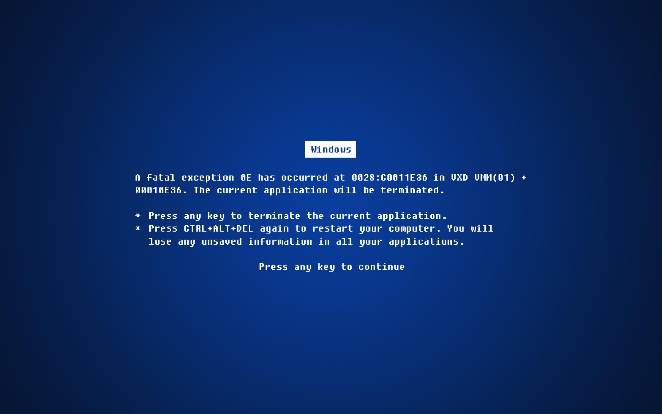 Technology - Windows  Humor Funny Error Blue Word Wallpaper
