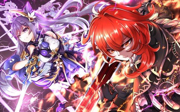 Video Game Genshin Impact Keqing Diluc HD Wallpaper | Background Image