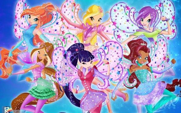 TV Show Winx Club Bloom Aisha Musa Flora Tecna Fairy Wings Stella Red Hair Blonde Brown Hair Purple Hair Two-Toned Hair Smile HD Wallpaper | Background Image