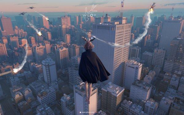 Sci Fi Women City Rocket HD Wallpaper | Background Image