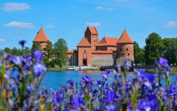 Man Made Trakai Island Castle Castles Lithuania Bridge Flower Castle HD Wallpaper | Background Image