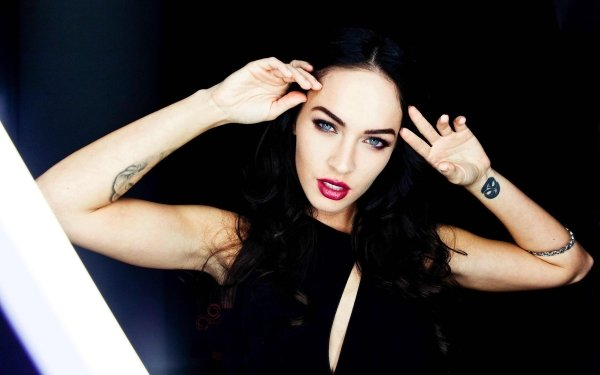 Celebrity Megan Fox Actresses United States Makeup Actress Brunette Tattoo Hair HD Wallpaper   Background Image