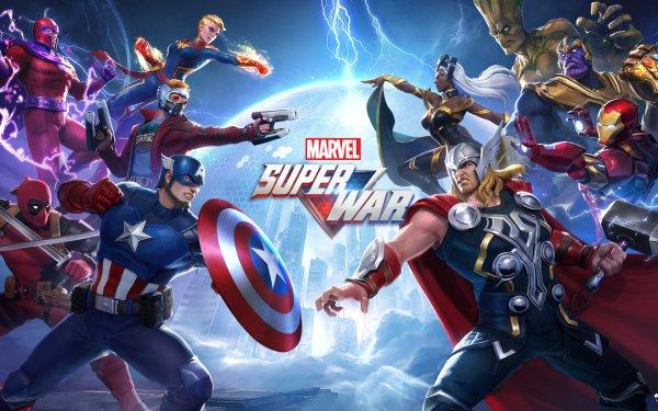 Jeux Vidéo Marvel Super War Iron Man Captain America Thor Storm Captain Marvel Groot Star Lord Peter Quill Magneto Thanos Deadpool Tony Stark Carol Danvers Marvel Comics Wade Wilson Ororo Munroe Logo Fond d'écran HD | Image