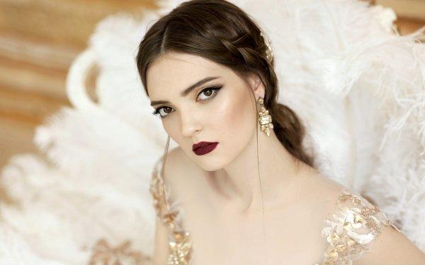 Women Model Models Girl Portrait Lipstick Face Makeup Brunette HD Wallpaper | Background Image