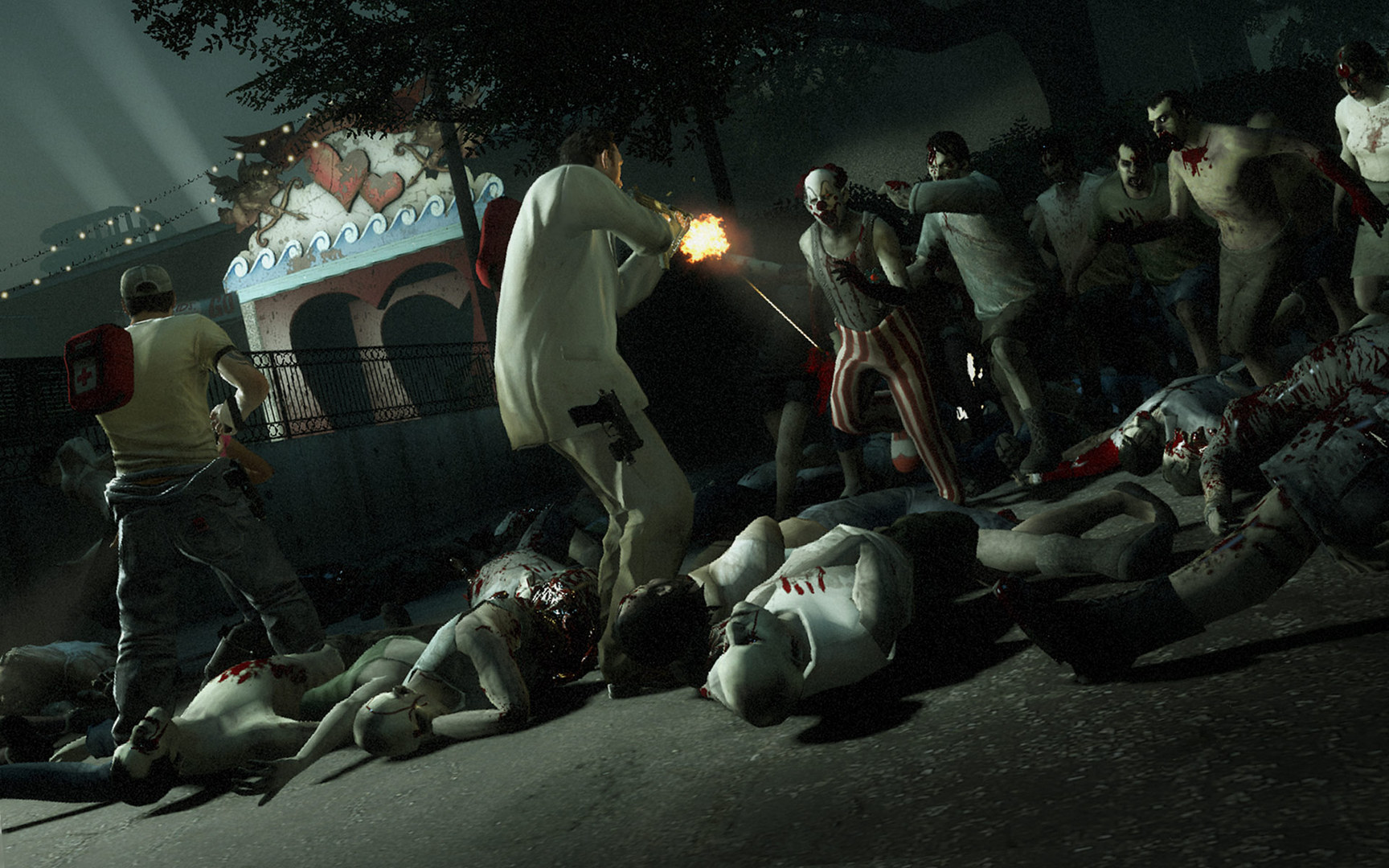 Video Game - Left 4 Dead 2  - Dead - Zombie - Attac - Fire - Night - Dark - Clown - Carneval - Left 4 Dead Wallpaper