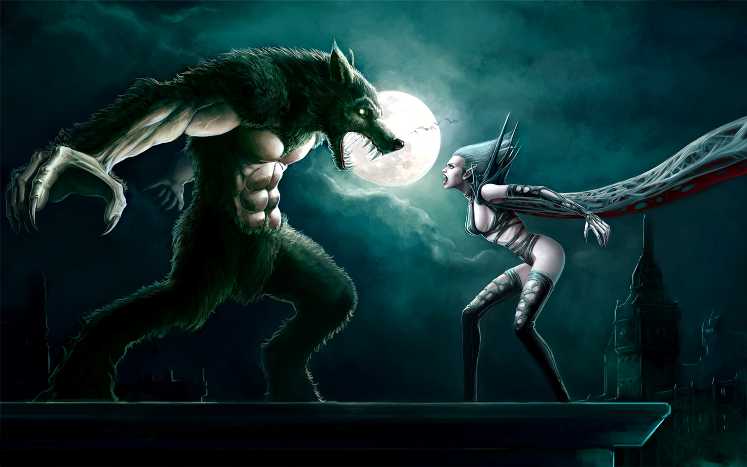 Donker - Battle  Vampier Werewolf Woman Wallpaper