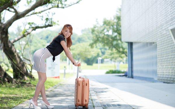 Women Asian Woman Model Smile Suitcase Depth Of Field Brunette HD Wallpaper | Background Image