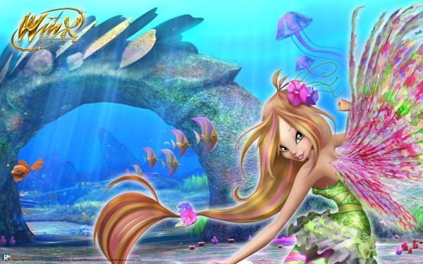 Movie Winx Club: The Mystery of the Abyss Flora Fairy Fish Jellyfish Two-Toned Hair HD Wallpaper | Background Image