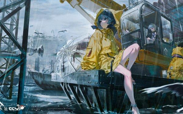 Anime Girl Raincoat Rain HD Wallpaper   Background Image