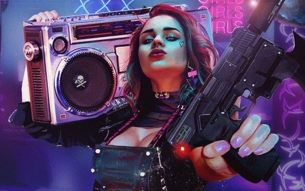 Video Game Cyberpunk 2077 Woman Radio Gun Two-Toned Hair HD Wallpaper | Background Image