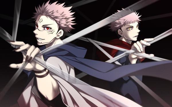 Anime Jujutsu Kaisen Yuji Itadori Pink Hair Sukuna Red Eyes HD Wallpaper | Background Image