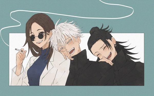 Anime Jujutsu Kaisen Satoru Gojo Suguru Geto Shoko Ieiri Brown Hair Black Hair White Hair Brown Eyes School Uniform Glasses HD Wallpaper | Background Image