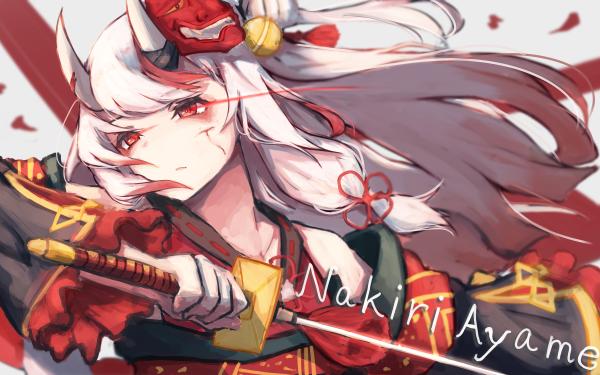 Anime Virtual Youtuber Hololive Nakiri Ayame White Hair Red Eyes HD Wallpaper   Background Image