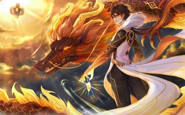 Videospel Genshin Impact Rex Lapis Zhongli HD Wallpaper | Achtergrond