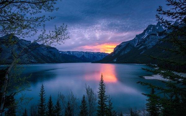 Earth Lake Lakes Sunset Mountain Canada Alberta Nature HD Wallpaper | Background Image