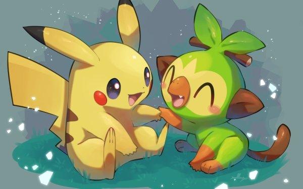 Anime Pokémon Pikachu Grookey Cute HD Wallpaper | Background Image