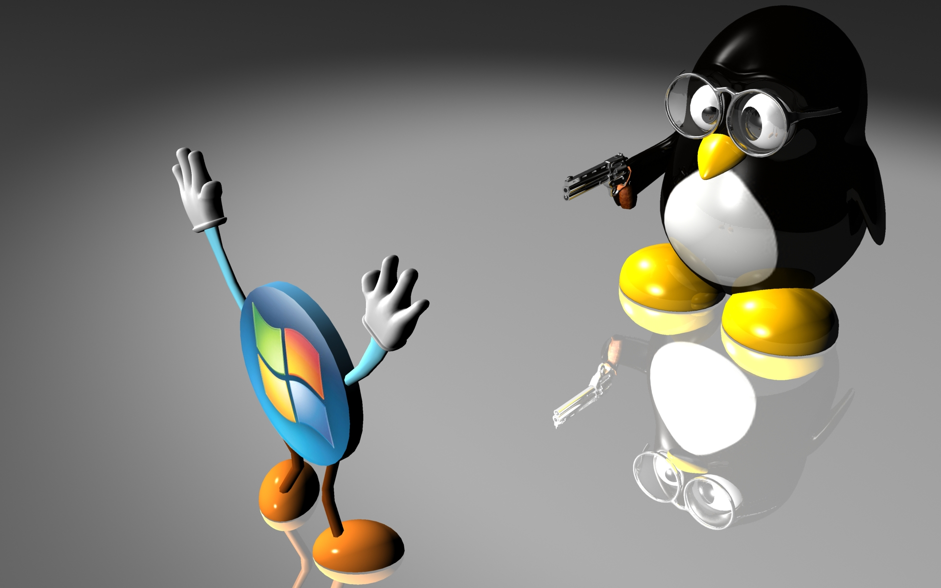 Technology - Linux  Penguin Tree Blue Fight Gun Humor Products Windows Wallpaper
