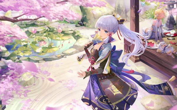 Video Game Genshin Impact Lumine Paimon Kamisato Ayaka HD Wallpaper   Background Image