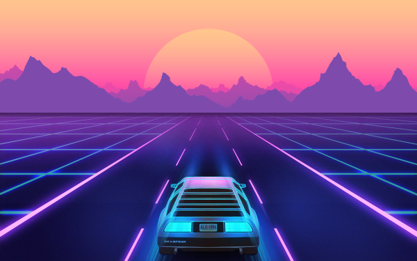 Artistic Synthwave DeLorean Retro Wave Neon Sunset Car HD Wallpaper | Background Image