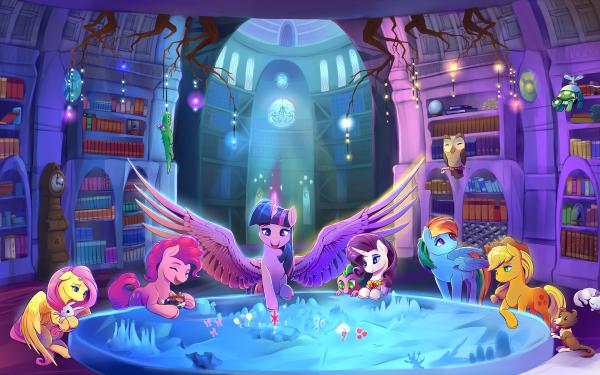 TV Show My Little Pony: Friendship is Magic My Little Pony Twilight Sparkle Pinkie Pie Rarity Spike Fluttershy Rainbow Dash Applejack Angel Bunny Owlowiscious Opalescence HD Wallpaper   Background Image