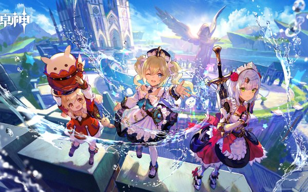 Video Game Genshin Impact Barbara Klee Noelle HD Wallpaper | Background Image